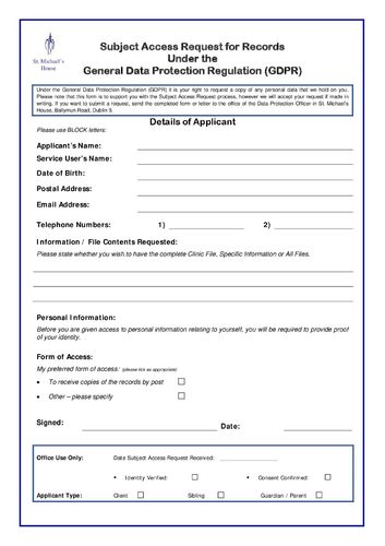 Data Protection - Subject Access Request Form